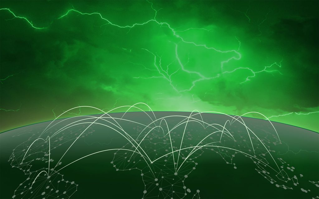 Green globe with lightning in a green sky background